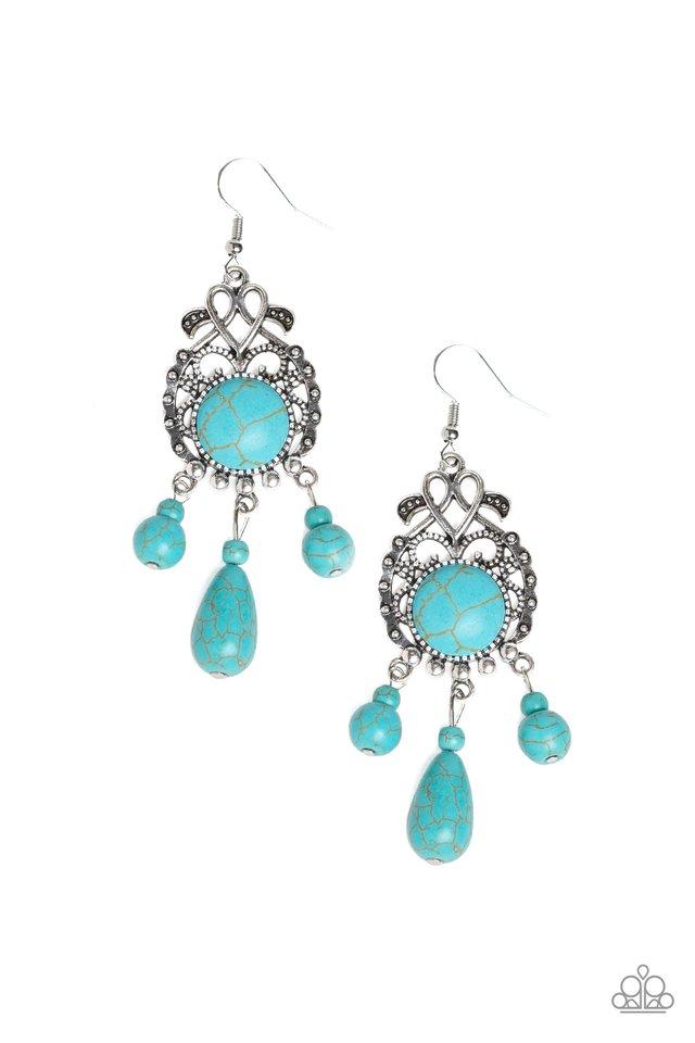 Stone Bliss - Blue - Paparazzi Earring Image