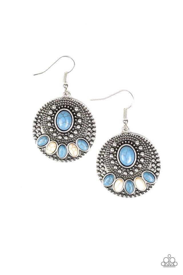 Sandstone Paradise - Blue - Paparazzi Earring Image