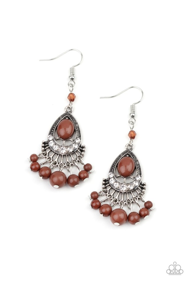 Floating On HEIR - Brown - Paparazzi Earring Image