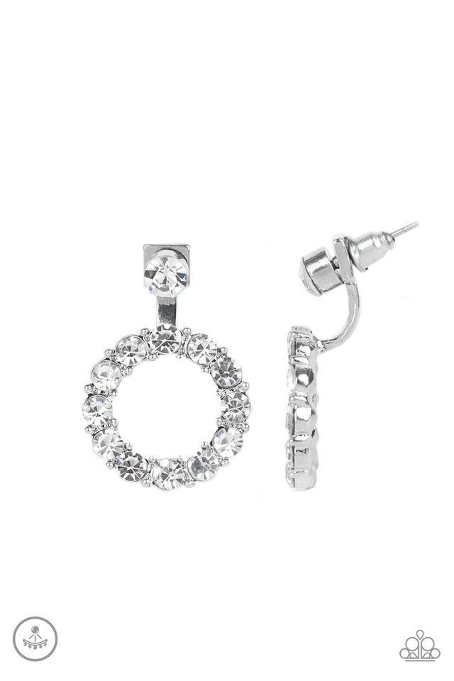 Diamond Halo - White - Paparazzi Earring Image