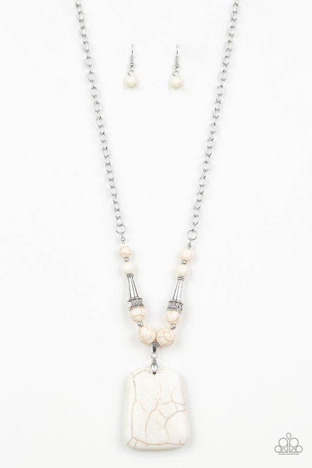 Sandstone Oasis - White - Paparazzi Necklace Image