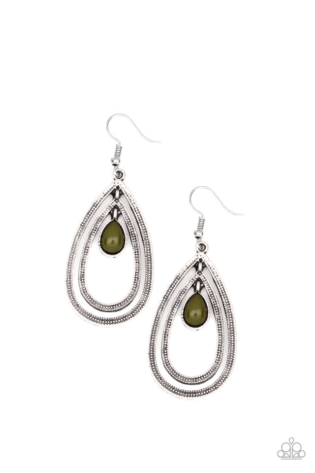 Drops of Color - Green - Paparazzi Earring Image