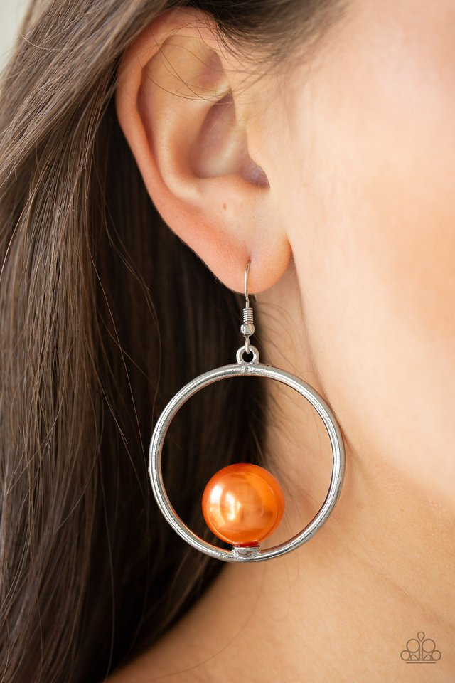 Solitaire REFINEMENT - Orange - Paparazzi Earring Image