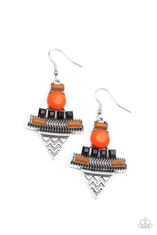 Tribal Terrain - Orange - Paparazzi Earring Image