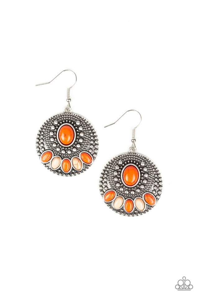 Sandstone Paradise - Orange - Paparazzi Earring Image