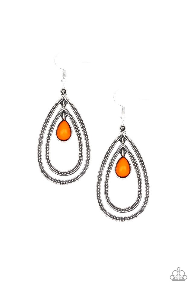 Drops of Color - Orange - Paparazzi Earring Image