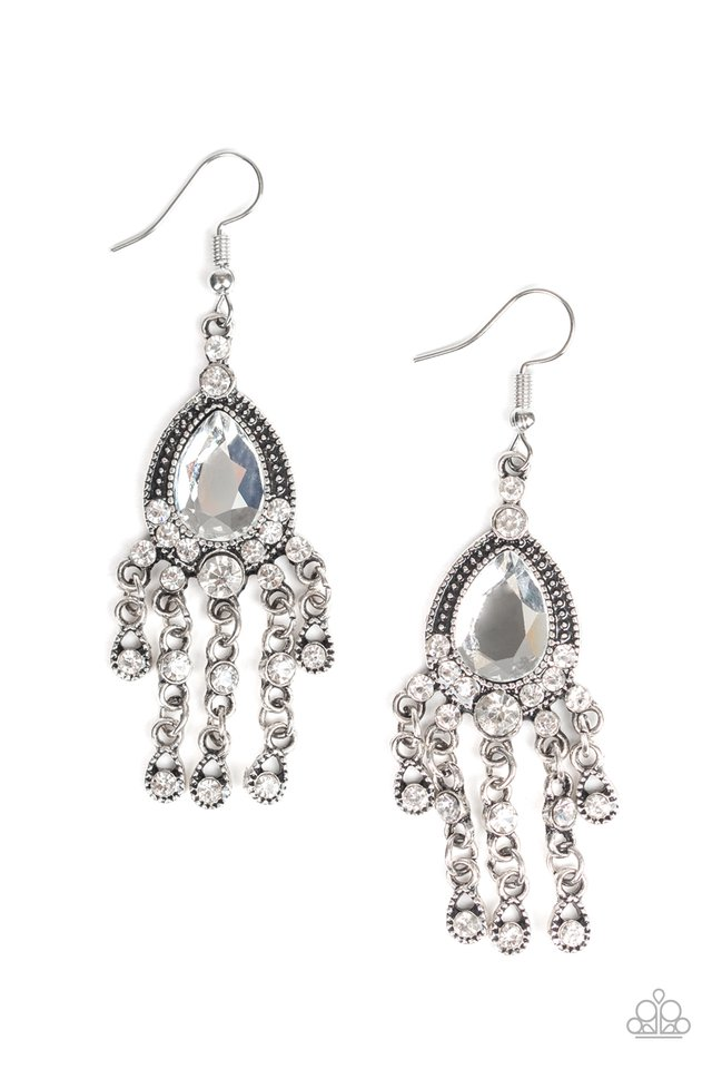 Bling Bliss - White - Paparazzi Earring Image
