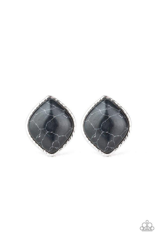 Marble Marvel - Black - Paparazzi Earring Image