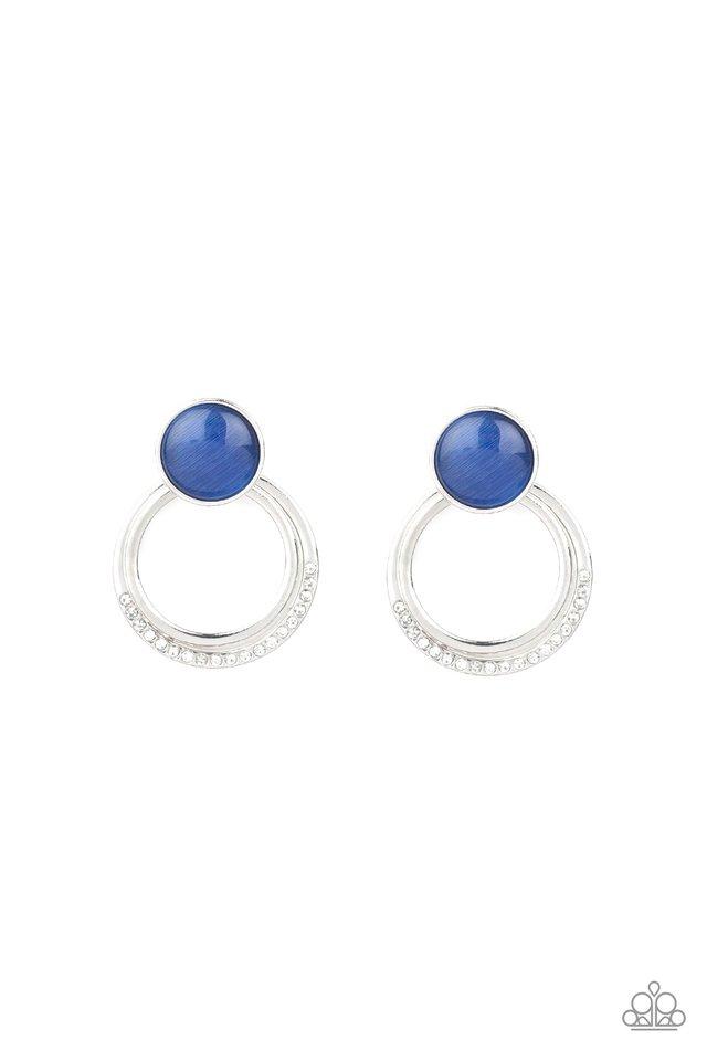 Glow Roll - Blue - Paparazzi Earring Image