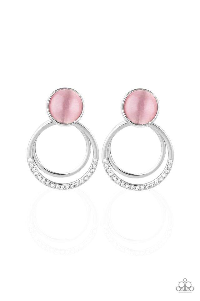 Glow Roll - Pink - Paparazzi Earring Image