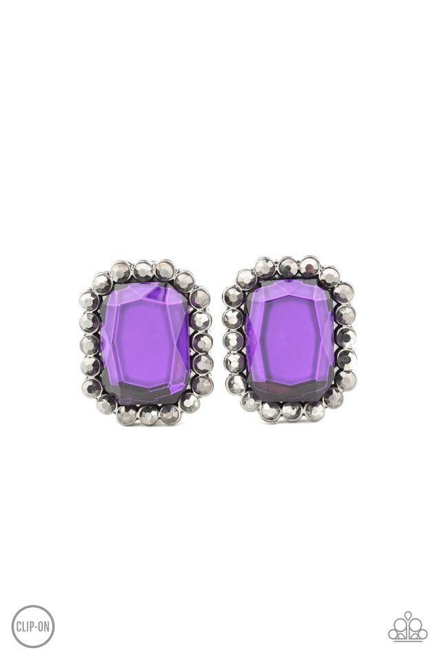 Glitter Enthusiast - Purple - Paparazzi Earring Image