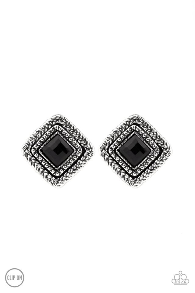 Fashion Square - Black - Paparazzi Earring Image