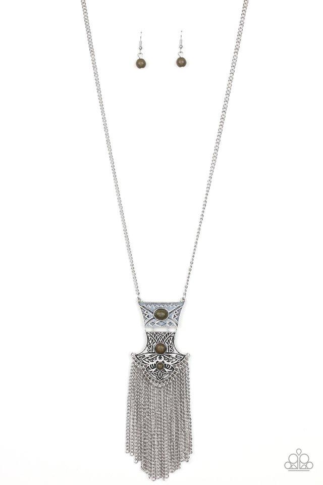 Totem Tassel - Green - Paparazzi Necklace Image