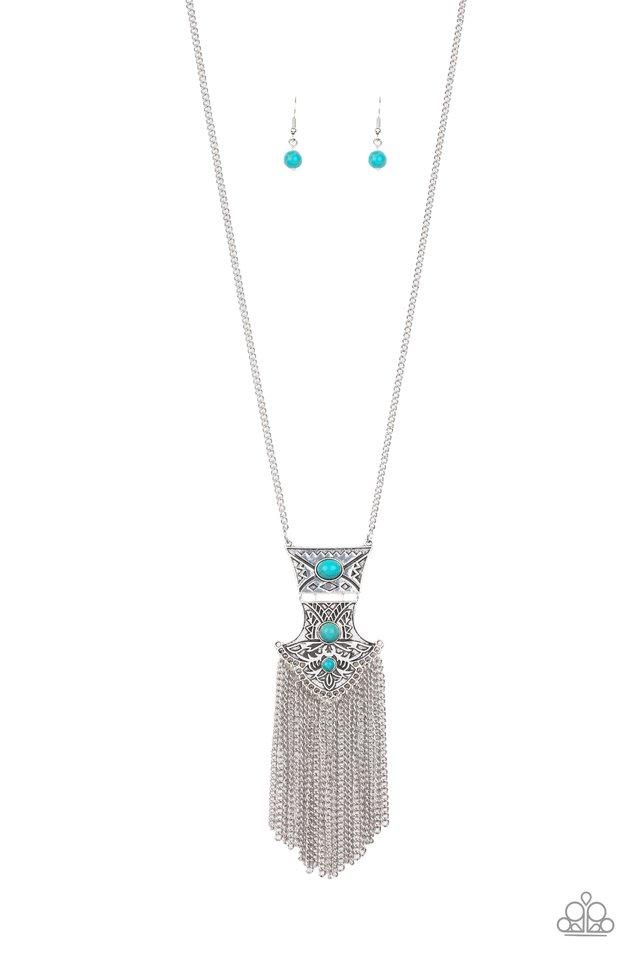 Totem Tassel - Blue - Paparazzi Necklace Image