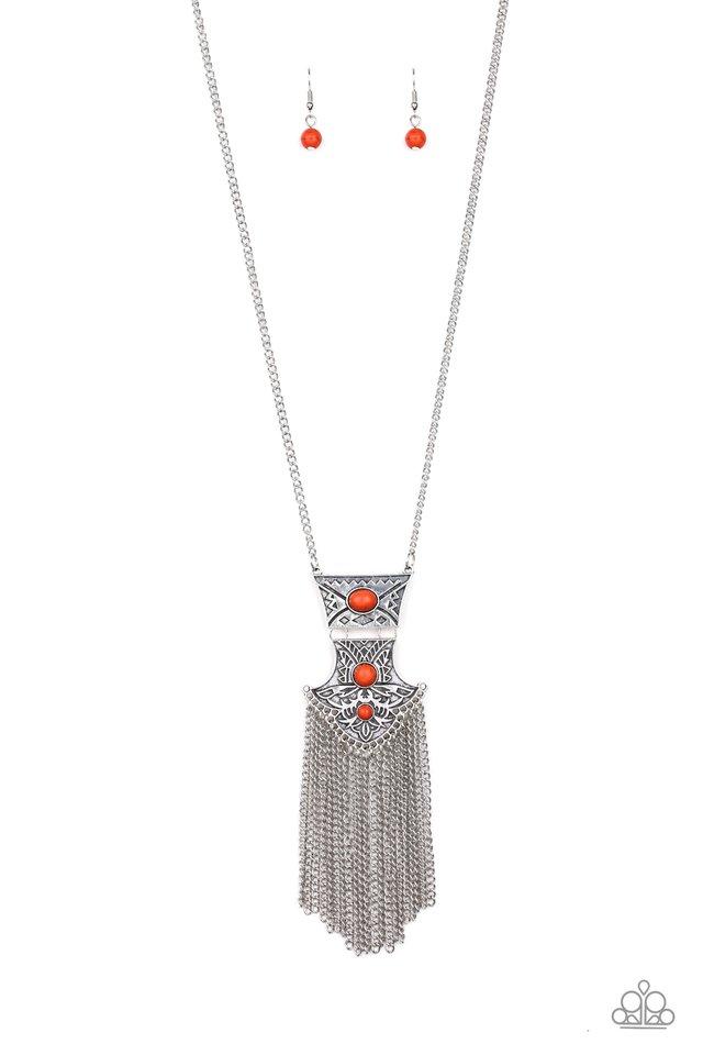 Totem Tassel - Orange - Paparazzi Necklace Image