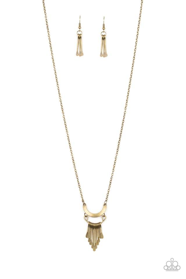Trendsetting Trinket - Brass - Paparazzi Necklace Image