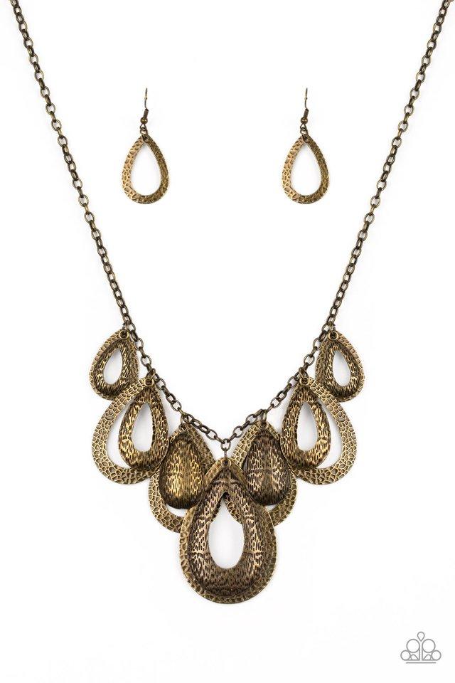 Teardrop Tempest - Brass - Paparazzi Necklace Image