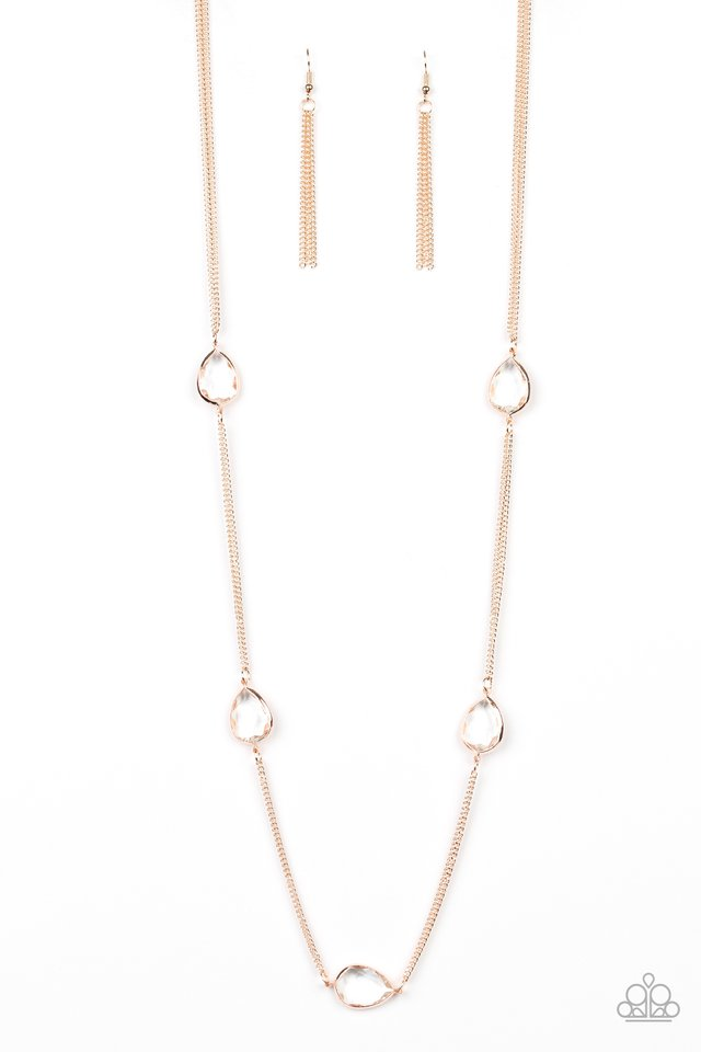 Teardrop Timelessness - Rose Gold - Paparazzi Necklace Image