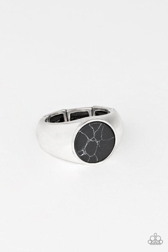 Carbon Print - Black - Paparazzi Ring Image