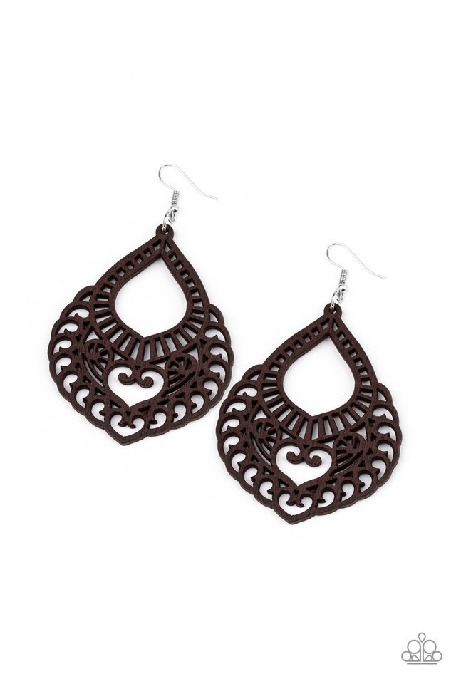 If You WOOD Be So Kind - Brown - Paparazzi Earring Image