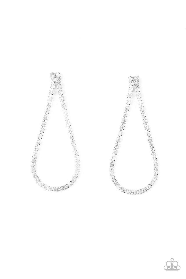Diamond Drops - White - Paparazzi Earring Image
