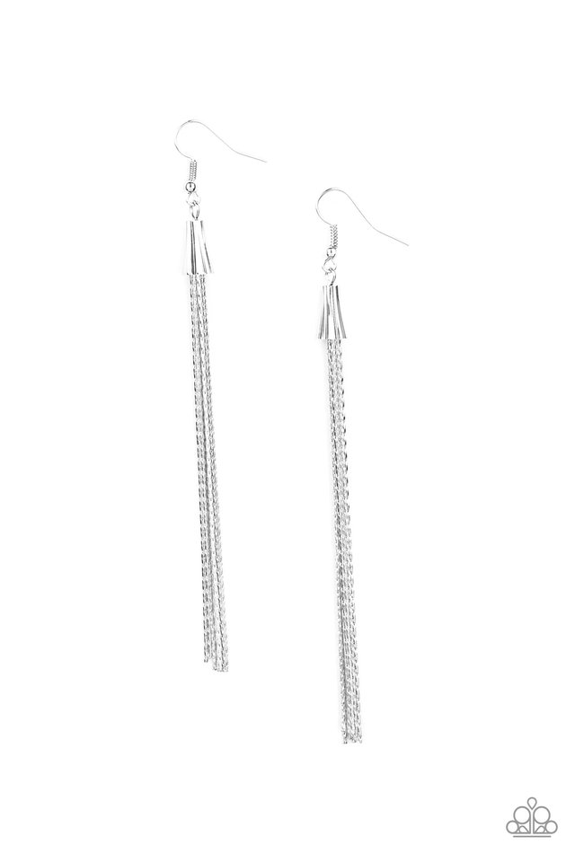 Shimmery Streamers - Silver - Paparazzi Earring Image