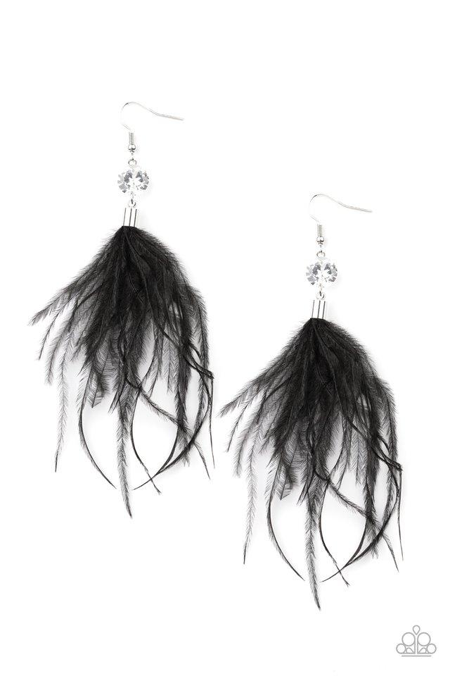 Feathered Flamboyance - Black - Paparazzi Earring Image