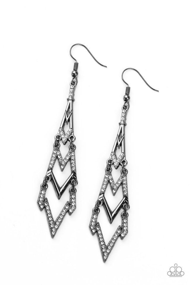 Electric Shimmer - Black - Paparazzi Earring Image