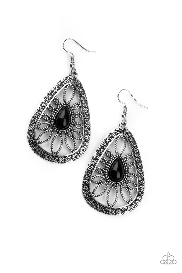 Floral Frill - Black - Paparazzi Earring Image