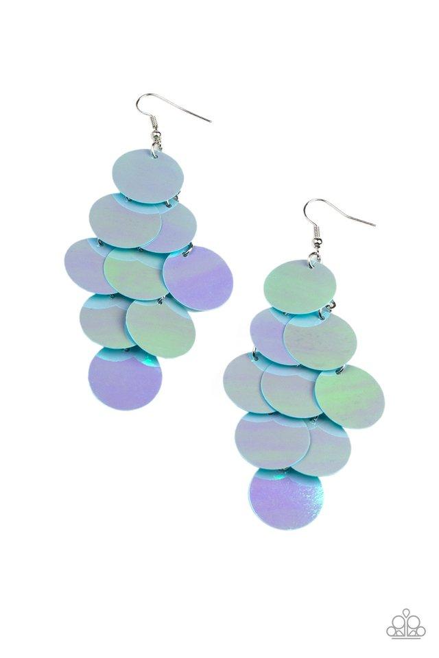 Mermaid Shimmer - Blue - Paparazzi Earring Image