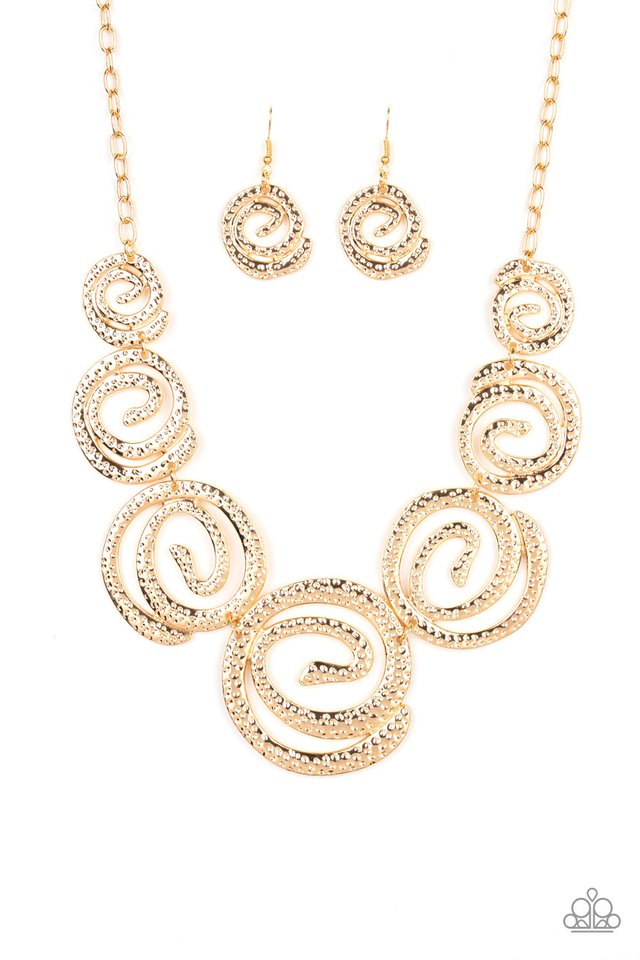 Statement Swirl - Gold - Paparazzi Necklace Image