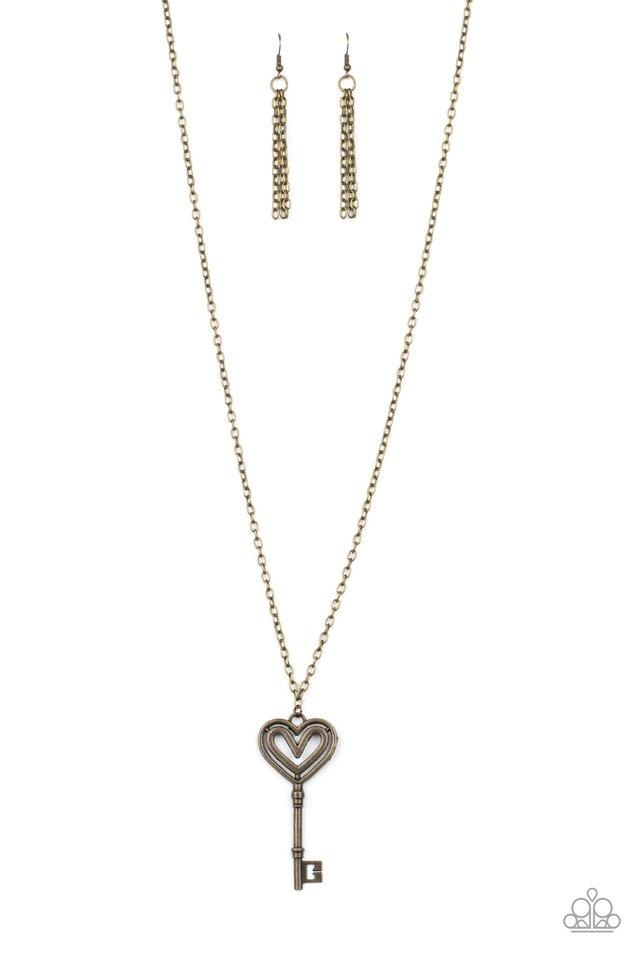 Unlock My Heart - Brass - Paparazzi Necklace Image