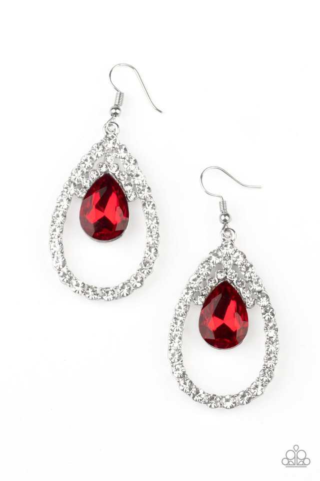 Trendsetting Twinkle - Red - Paparazzi Earring Image
