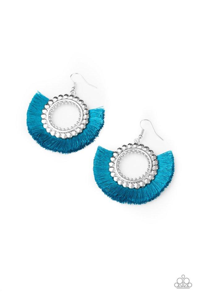 Fringe Fanatic - Blue - Paparazzi Earring Image