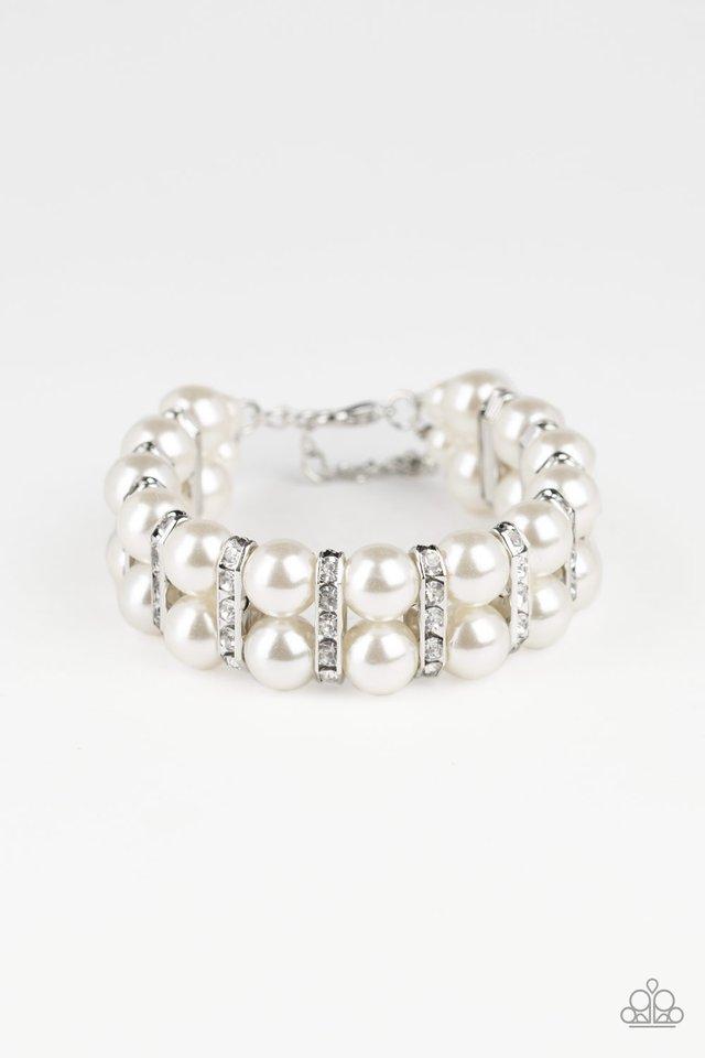 Glowing Glam - White - Paparazzi Bracelet Image