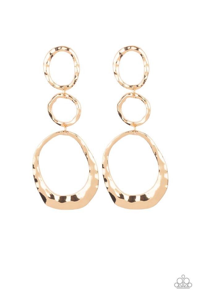 Radically Rippled - Gold - Paparazzi Earring Image