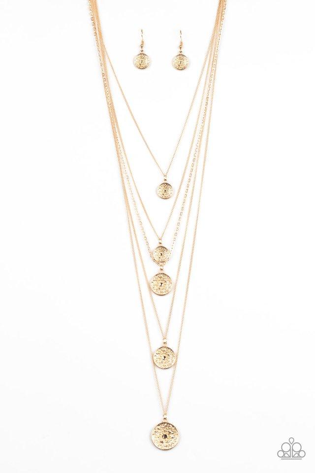 Medallion Marvel - Gold - Paparazzi Necklace Image