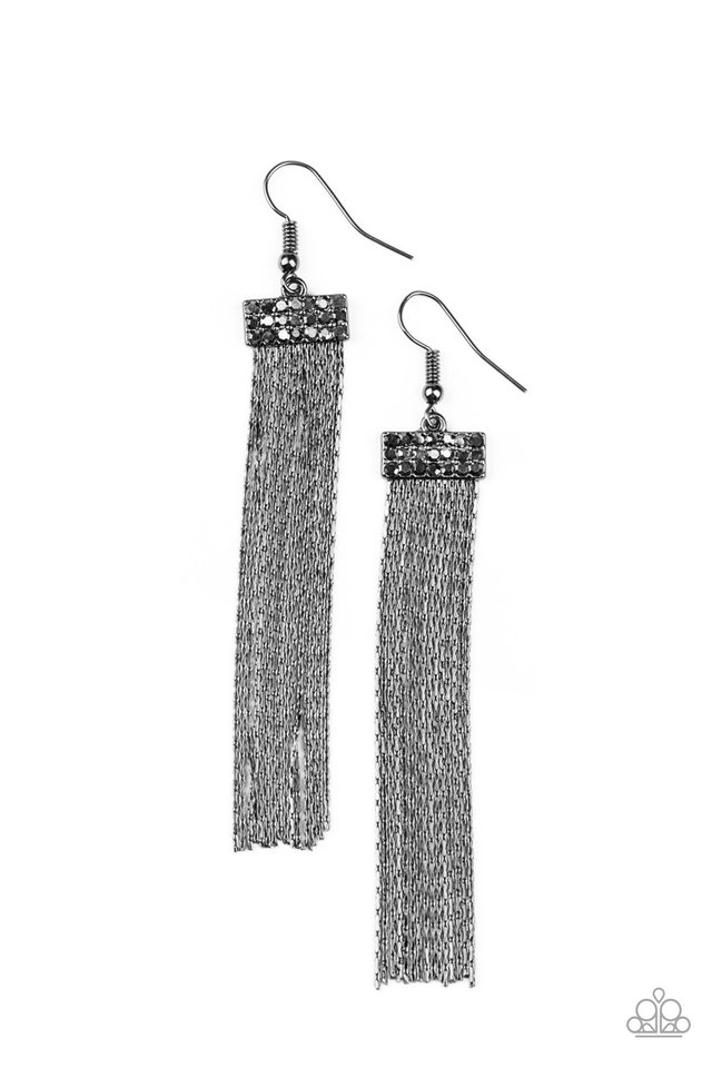Twinkling Tapestry - Black - Paparazzi Earring Image