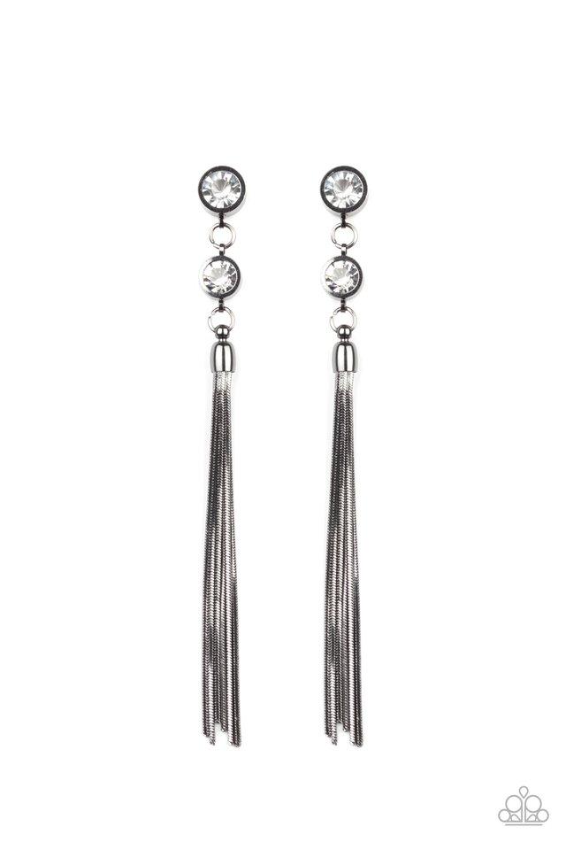 Tassel Twinkle - Black - Paparazzi Earring Image