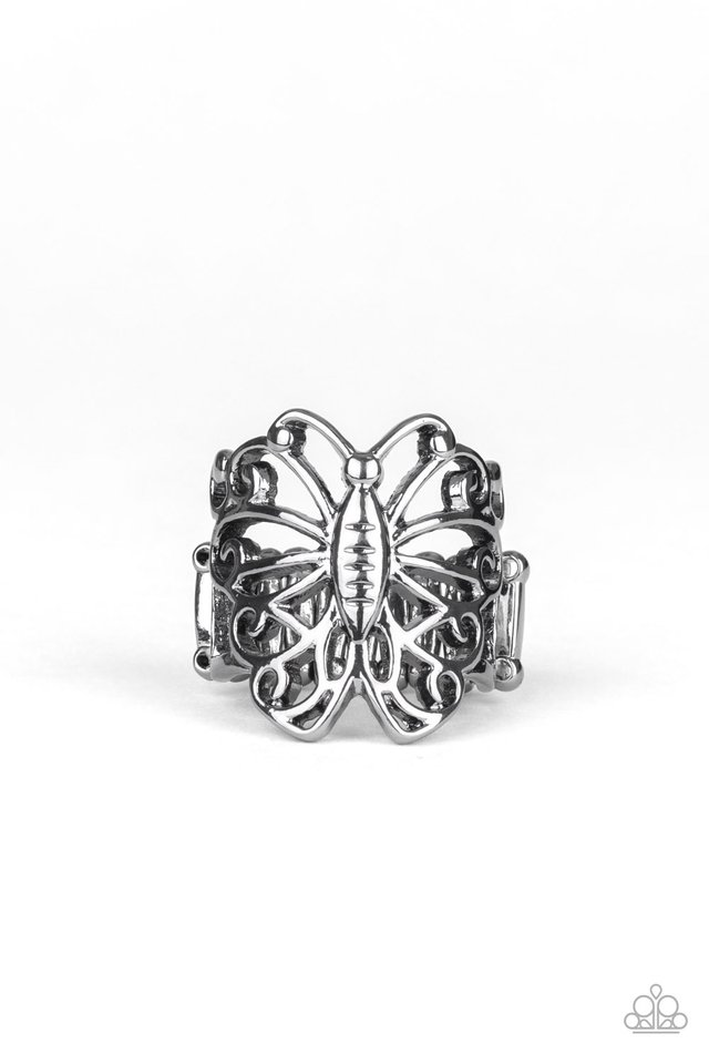 Wouldnt Hurt a BUTTERFLY - Black - Paparazzi Ring Image