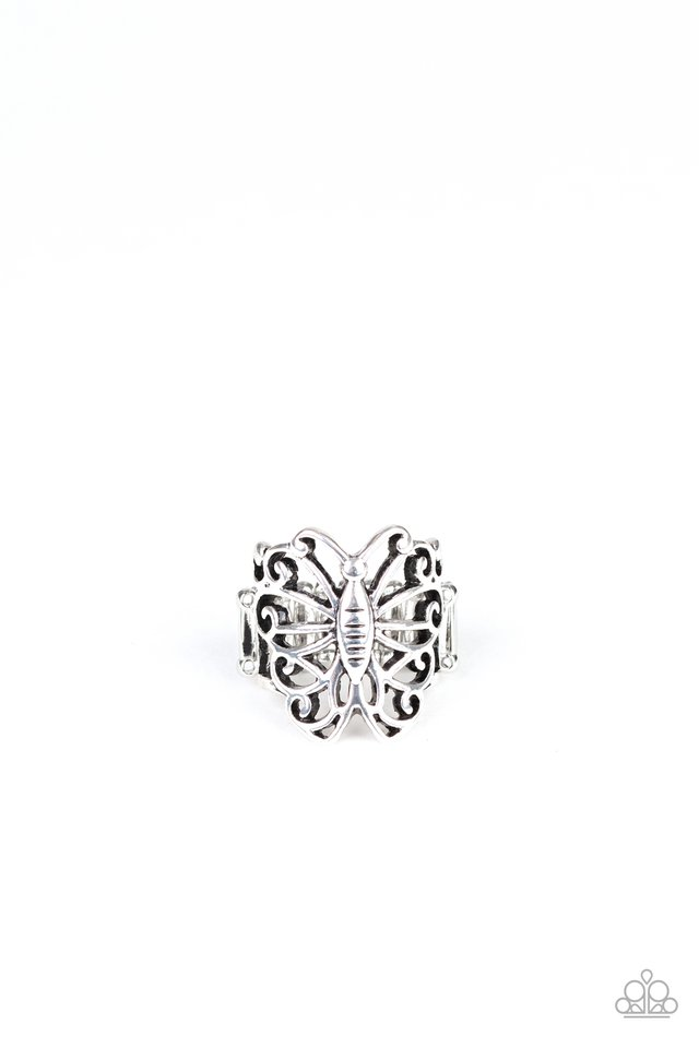 Wouldnt Hurt a BUTTERFLY - Silver - Paparazzi Ring Image