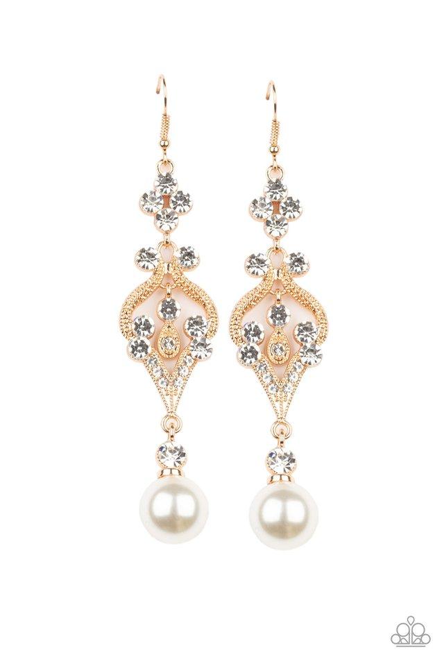 Elegantly Extravagant - Gold - Paparazzi Earring Image