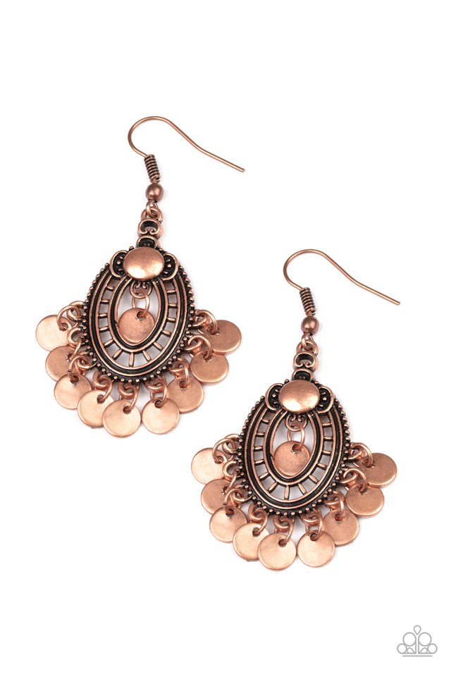Chime Chic - Copper - Paparazzi Earring Image