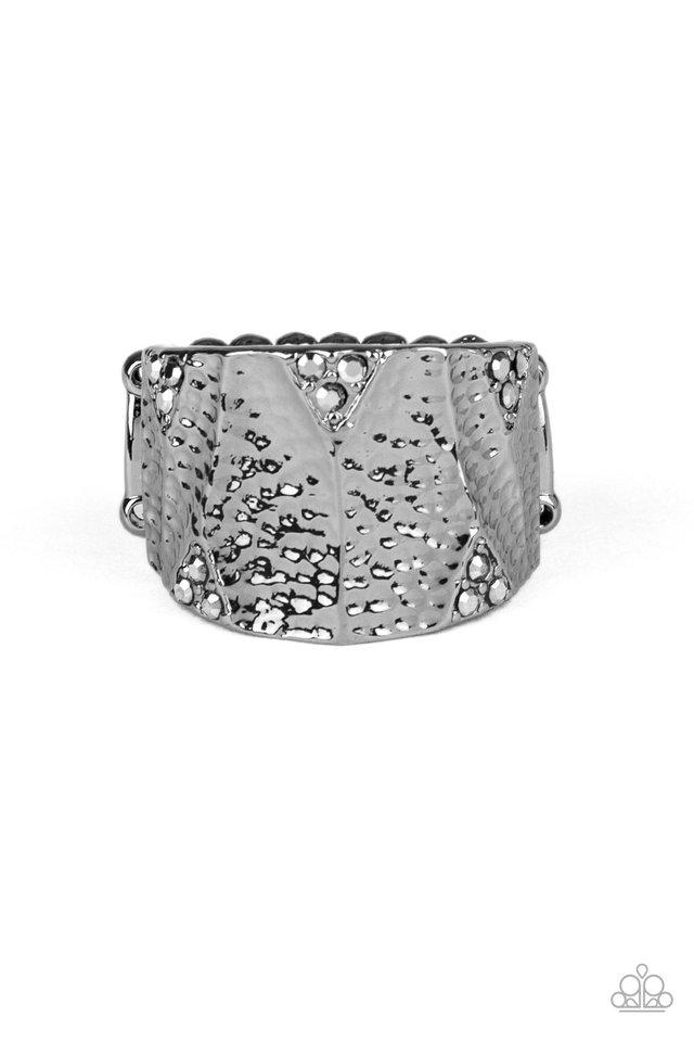 Industrial Indentation - Black - Paparazzi Ring Image