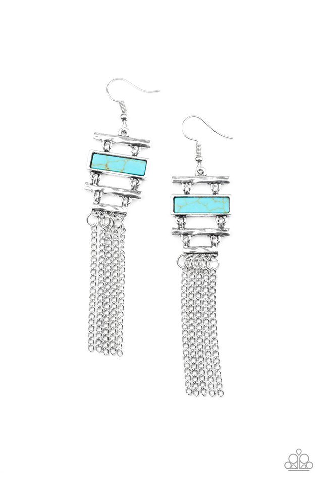 Stone Dwellings - Blue - Paparazzi Earring Image