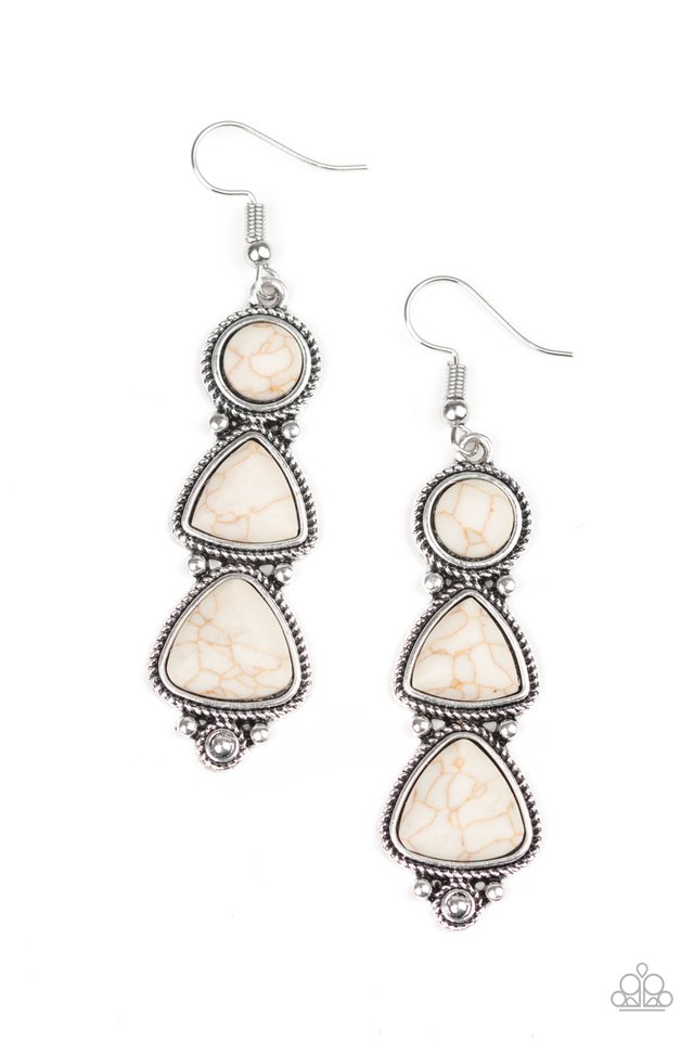 New Frontier - White - Paparazzi Earring Image
