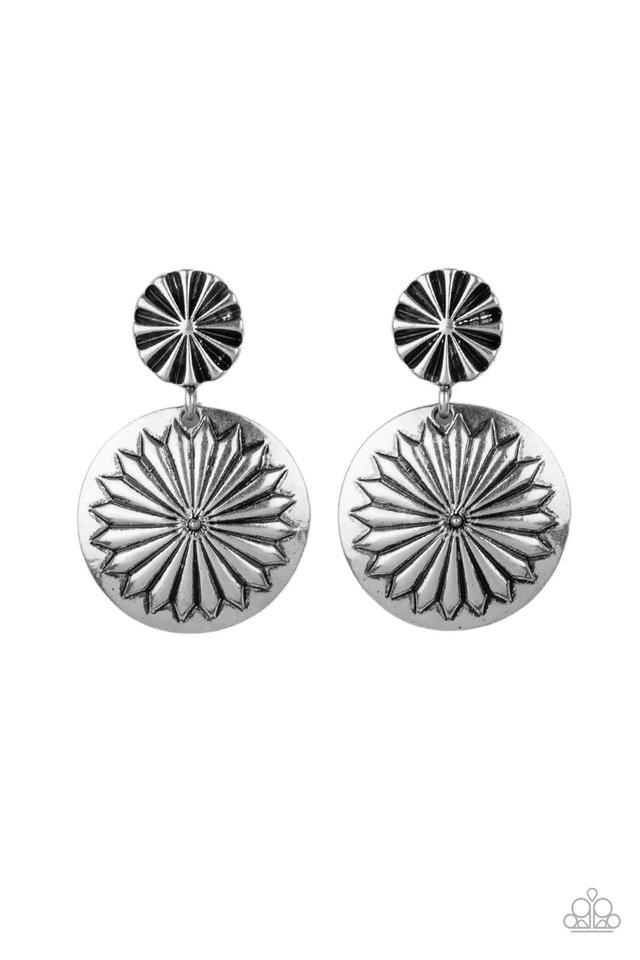 Fierce Florals - Silver - Paparazzi Earring Image