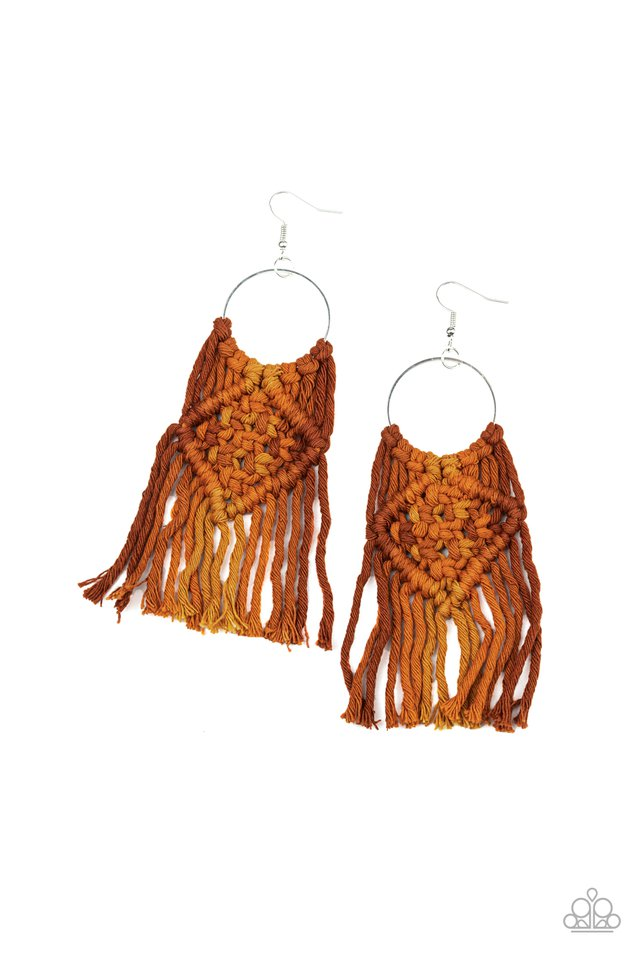Macrame Rainbow - Brown - Paparazzi Earring Image