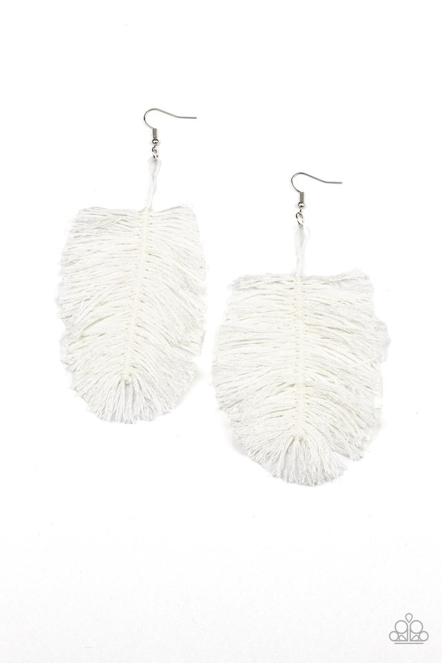 Hanging by a Thread - White - Paparazzi Earring Image