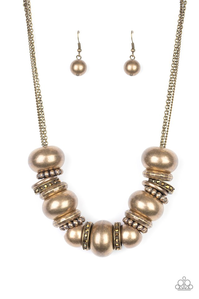 Only The Brave - Brass - Paparazzi Necklace Image